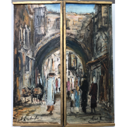 Inside 3 Panel Painting Walking to the Kotel / Outside Painting Jerusalem Market
